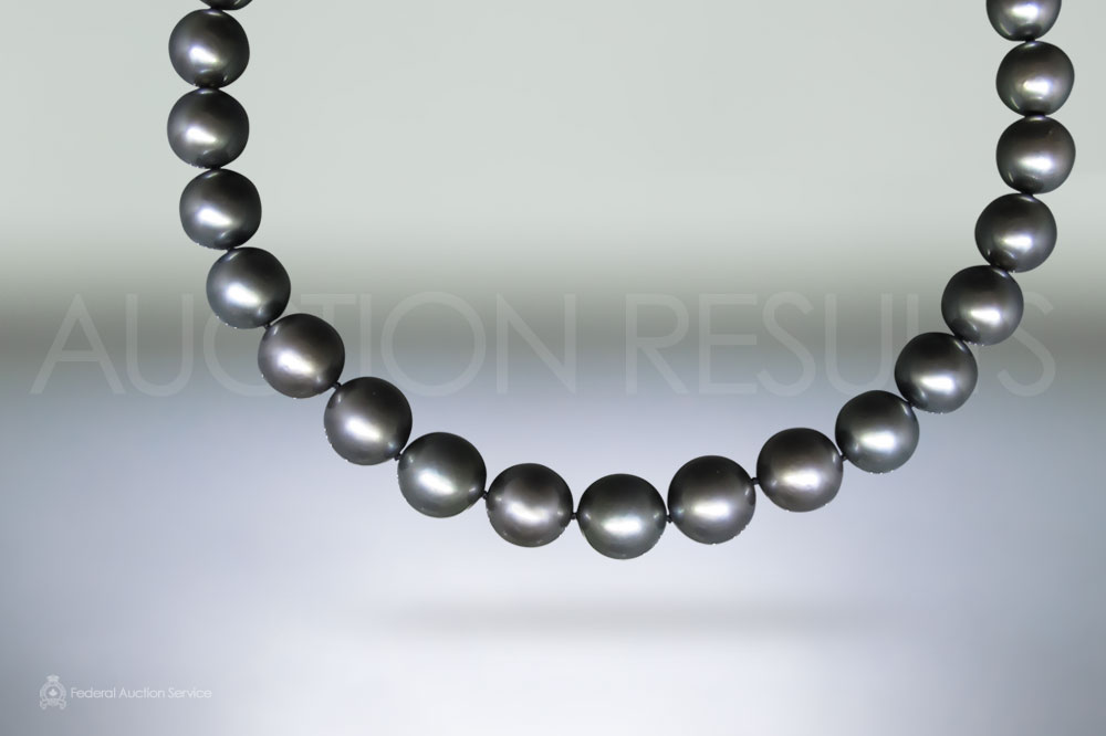 Hand Knotted Tahitian Pearl Necklace (Apx 10.1-12.6mm) sold for $10,500