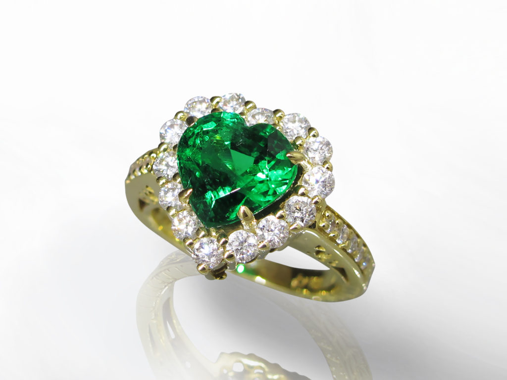 EGL Certified 3.28ct Heart Mixed Cut Emerald and Diamond Ring