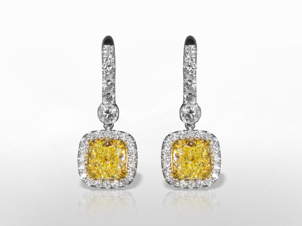 EGL Certified 18k White/Yellow Gold 4ct (TDW) Fancy Intense Yellow Diamond Earrings