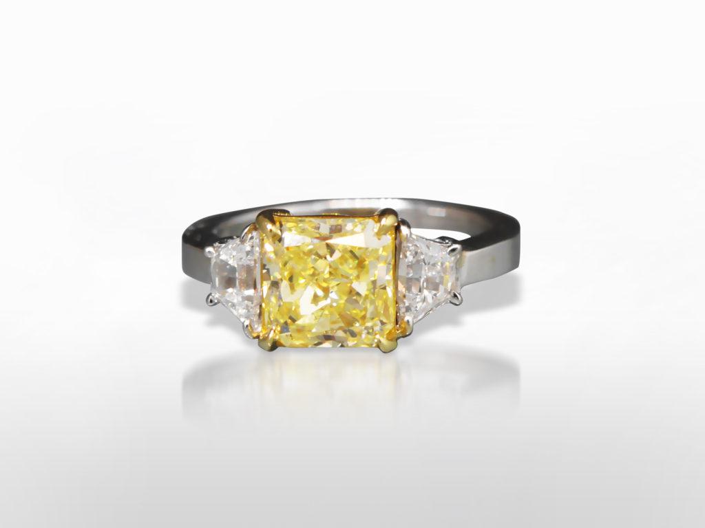"GIA Certified 2.20ct Cut-Cornered Square Cut ""Internally Flawless"" Fancy Yellow Diamond Ring"