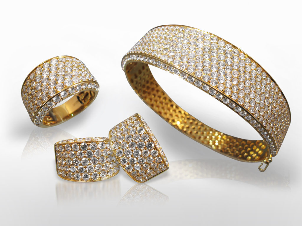 18k Yellow Gold Cluster Diamond Bangle with Earrings and Matching Ring Set