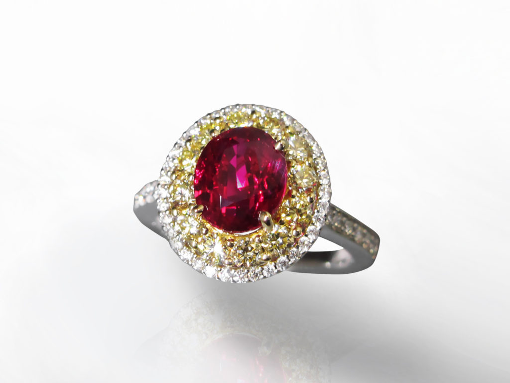 GRS Certified 3.02ct Oval Cut Unheated Ruby and Diamond Ring