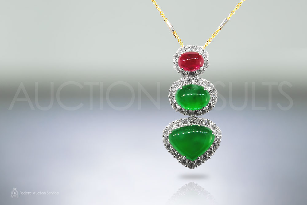 Oval Cabochon Burma Jade Pendant sold for $42,000