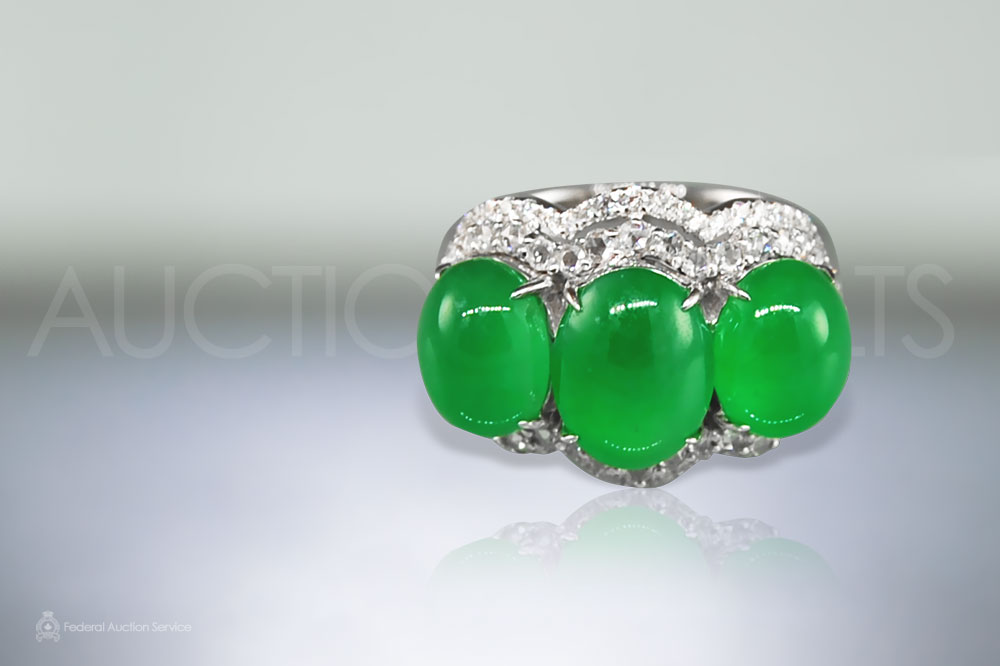 Golden Silk Burma Jade Trinity Ring sold for $42,000