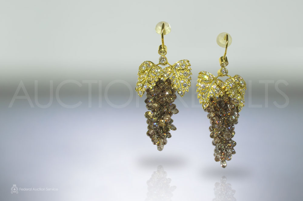 25.5ct Fancy Champagne Grape Design Diamond Earrings sold for $16,000
