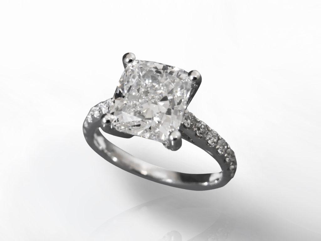 IGI Certified 4.50ct Cushion Brilliant Cut Diamond Ring