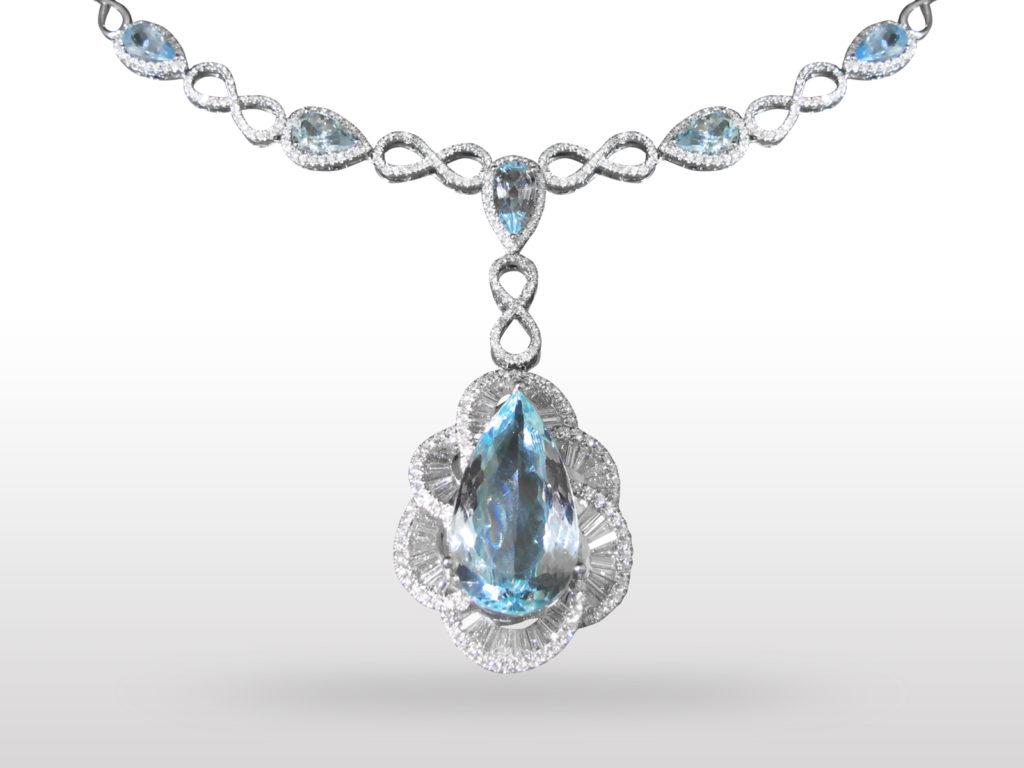 18k White Gold 22ct Aquamarine and Diamond Pendant Necklace