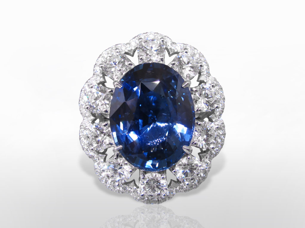 EGL Certified 11.53ct Oval Cut Blue Sapphire and Diamond Ring