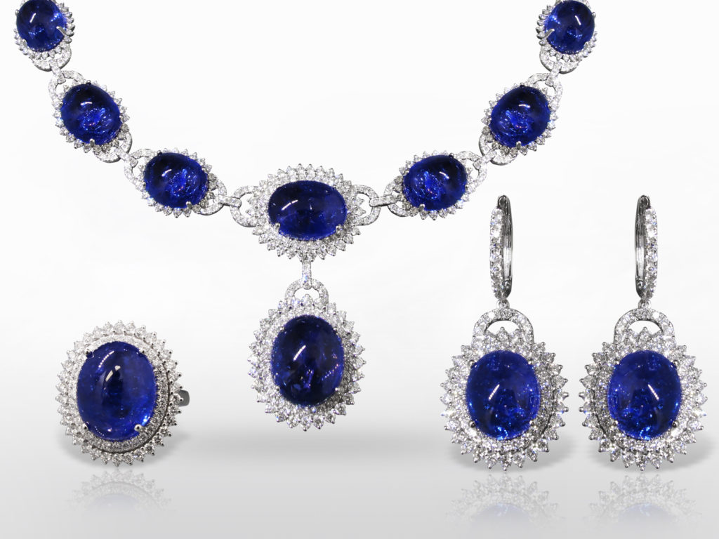 Elegant 18k White Gold 163ct (TW) Tanzanite and Diamond Necklace with Matching Earrings and Ring Set