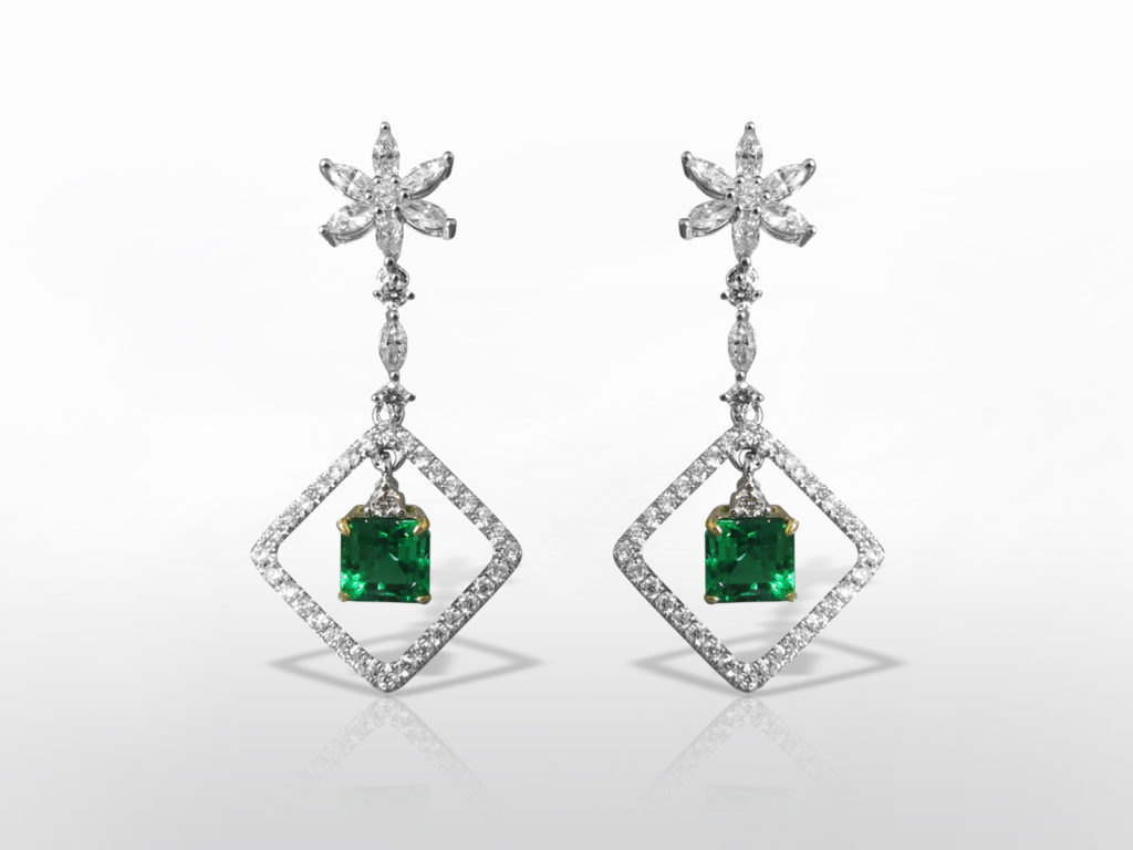 Lady's 18k White/Yellow Gold 2ct (TW) Colombian Emerald and Diamond Earrings