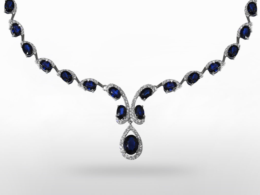 Lady's 14k White Gold 25ct (TW) Blue Sapphire and Diamond Necklace