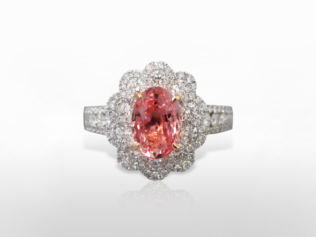 GIA Certified 2.65ct Oval Cut Unheated Padparadscha Sapphire and Diamond Ring