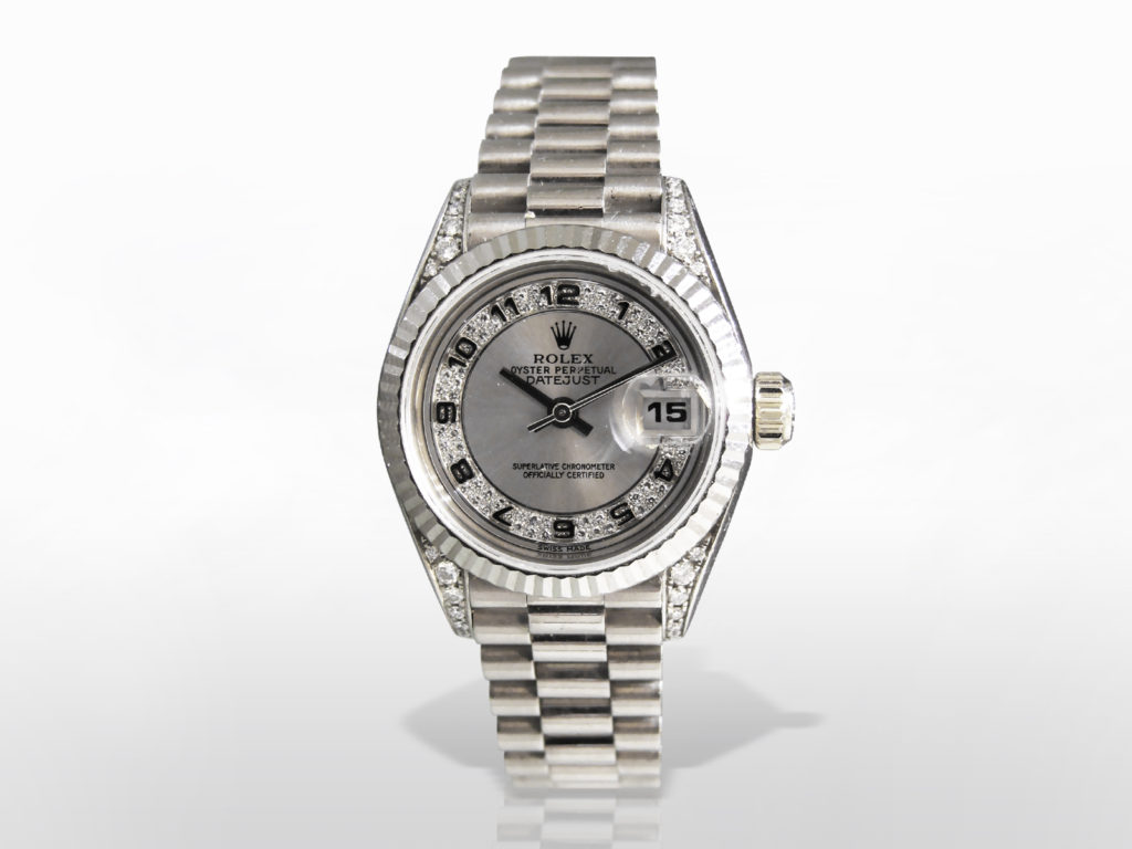 Lady's 18k White Gold Rolex Datejust Automatic Wristwatch with Diamonds