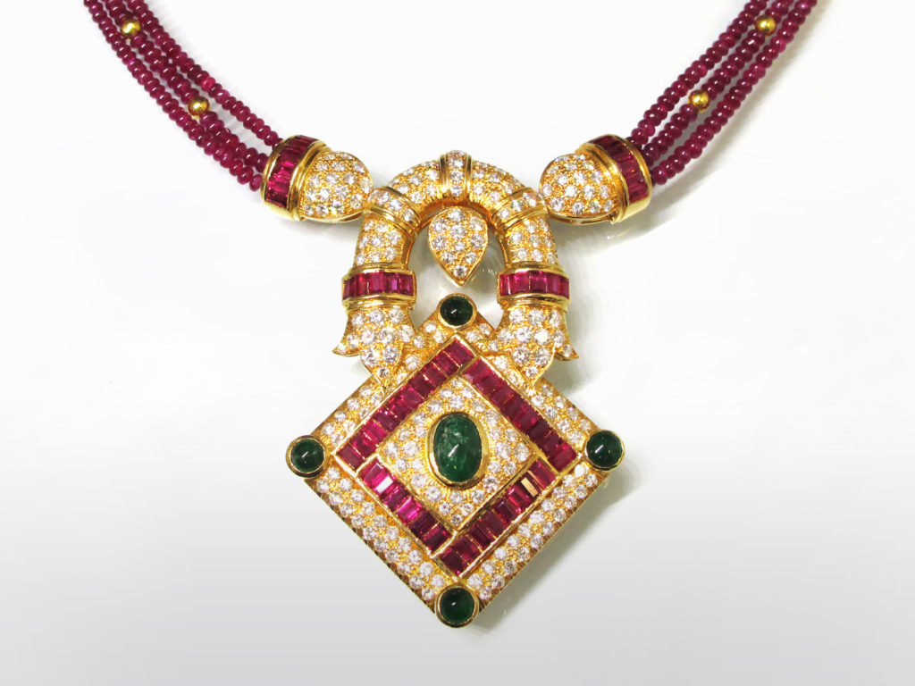 18k Rose Gold Emerald, Ruby and Diamond Pendant with Ruby Bead Necklace