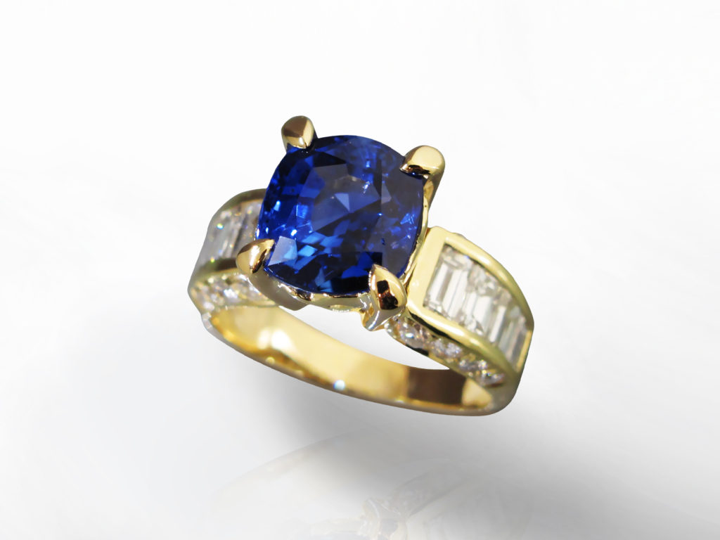 GIA Certified 5.13ct Cushion Cut Unheated Blue Sapphire and Diamond Ring