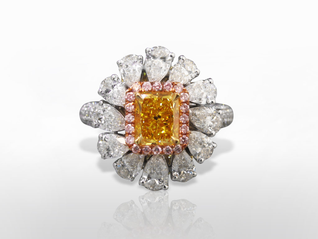 GIA Certified 1.53ct Fancy Vivid Yellow Diamond and Diamond Ring