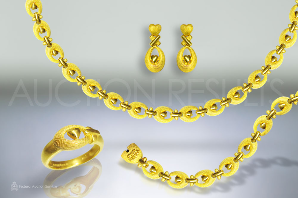 24k Yellow Gold Necklace, Earring, Bracelet and Ring Set sold for $10,000