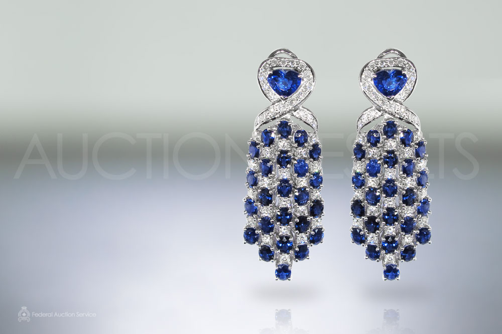 18k White Gold Exquisite 17.18ct Sapphire and Diamond Earrings sold for $16,000