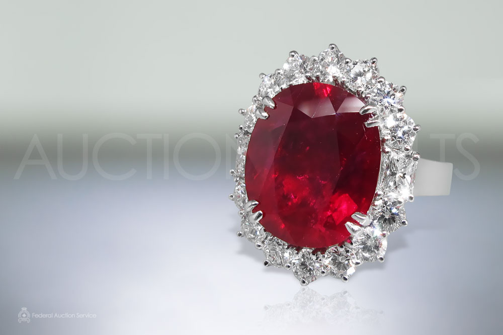 GRS Certified 9.73ct Oval Brilliant Cut Ruby and Diamond Ring sold for $26,000