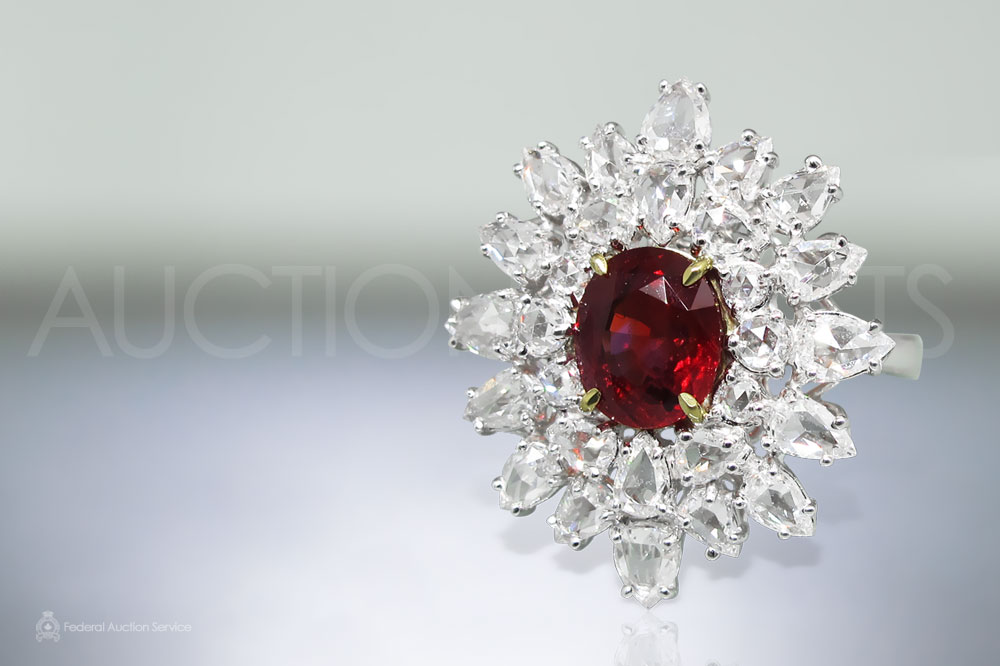 GIA Certified 2.85ct Oval Cut Ruby and Diamond Ring sold for $17,500
