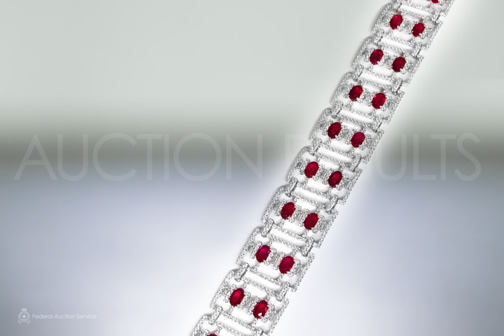 18k White Gold Art-Deco Style Ruby and Diamond Bracelet sold for $16,000