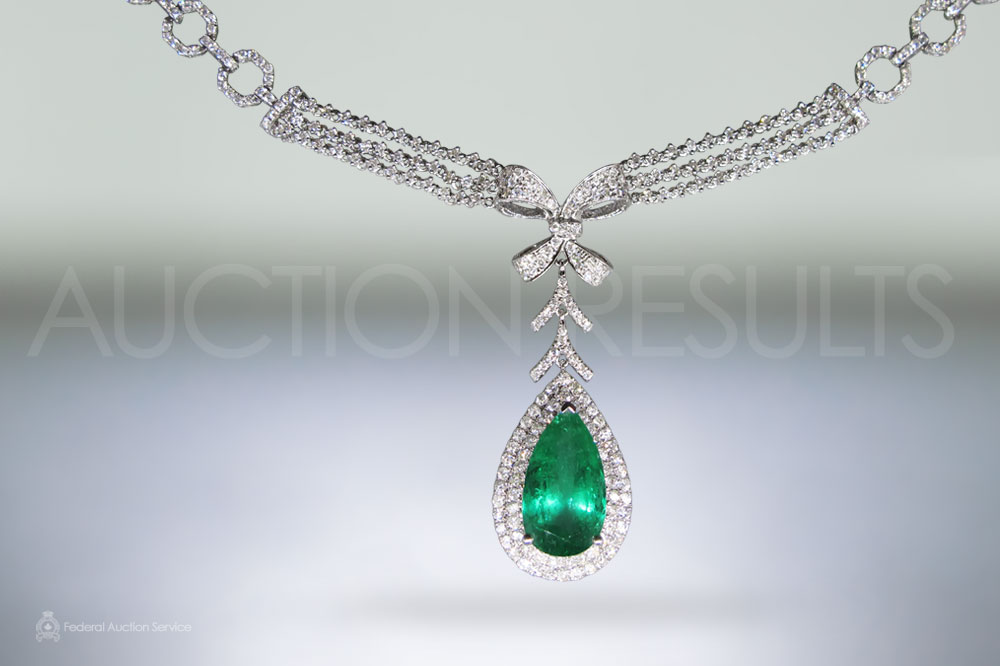 EGL Certified 7.3ct Colombian Emerald and Diamond Pendant Necklace sold for $16,500