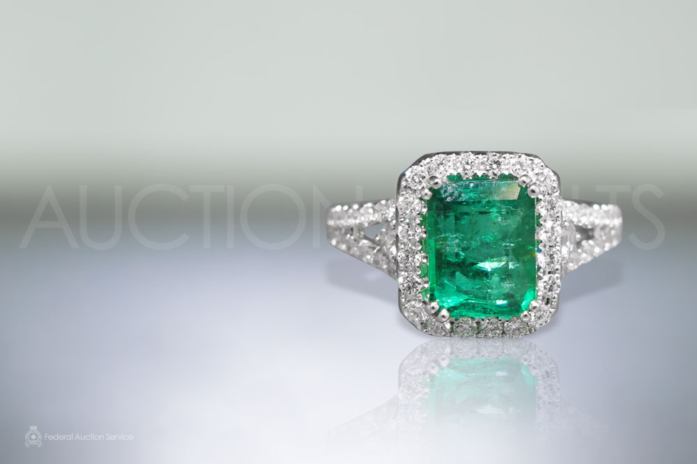 EGL Certified 2.16ct Cut Cornered Rectangular Cut Colombian Emerald Ring sold for $5,000