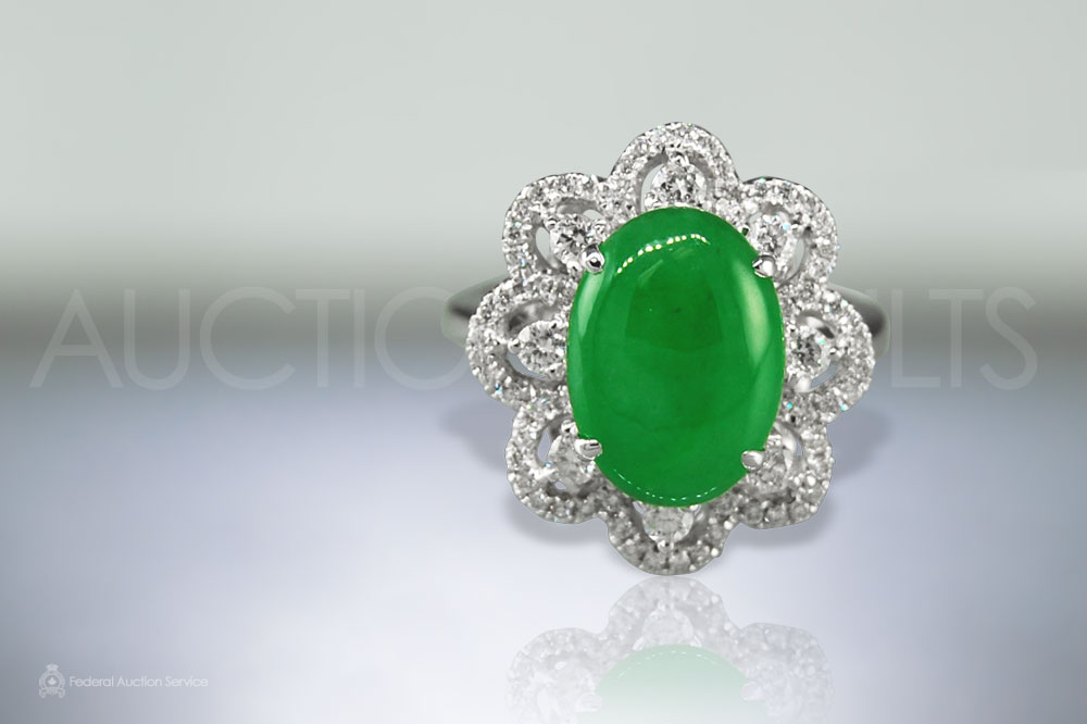 Fine Apple Green Burma Jade Ring sold for $7,600