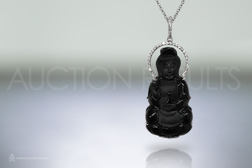 18k White Gold Burma Black Jade 'Kwan Yin' Carved Pendant sold for $3,200