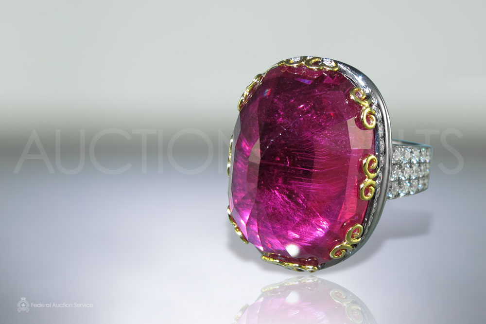 Lady's 18k White Gold 22.48ct Rubellite and Diamond Ring sold for $15,500