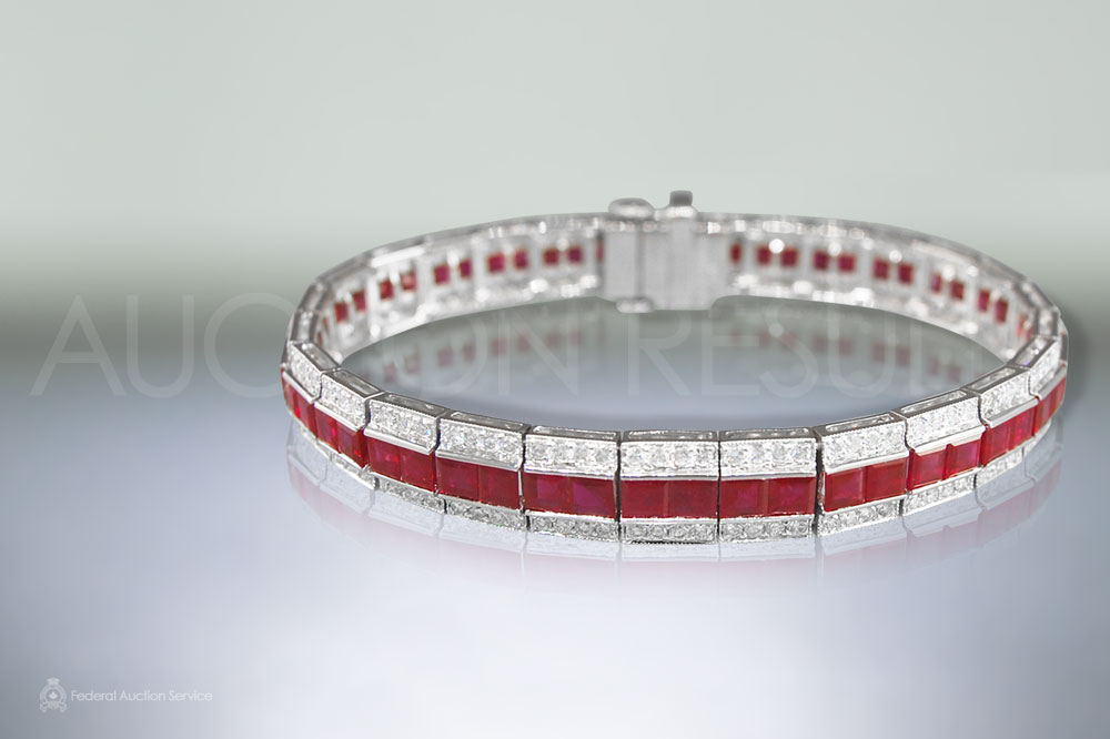 Lady's Platinum Art Deco Design 12.92ct Ruby and Diamond Bracelet sold for $23,000
