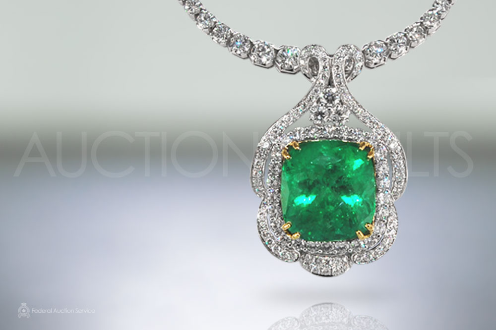Certified 35.55ct Cushion Cut Colombian Emerald Pendant with Diamond Necklace sold for $71,000