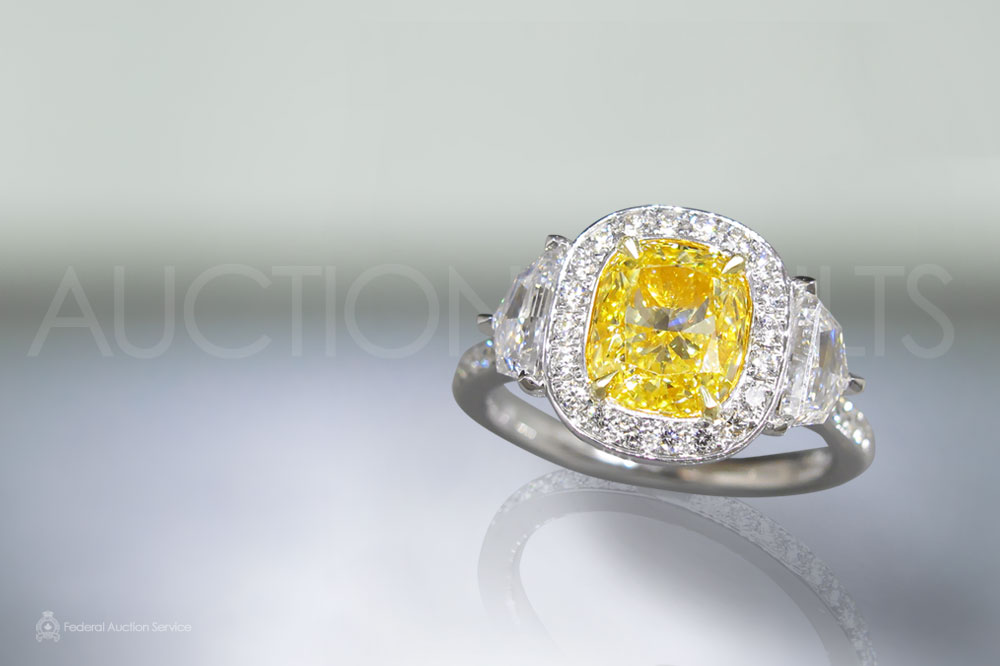 GIA Certified 2.00ct Cushion Modified Brilliant Cut 'IF' Fancy Yellow Diamond Ring sold for $36,000