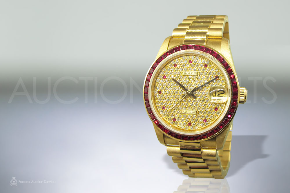 18k Yellow Gold Rare Rolex Datejust Midsize, All Factory Ruby Diamond Dial, Ruby Bezel sold for $31,000