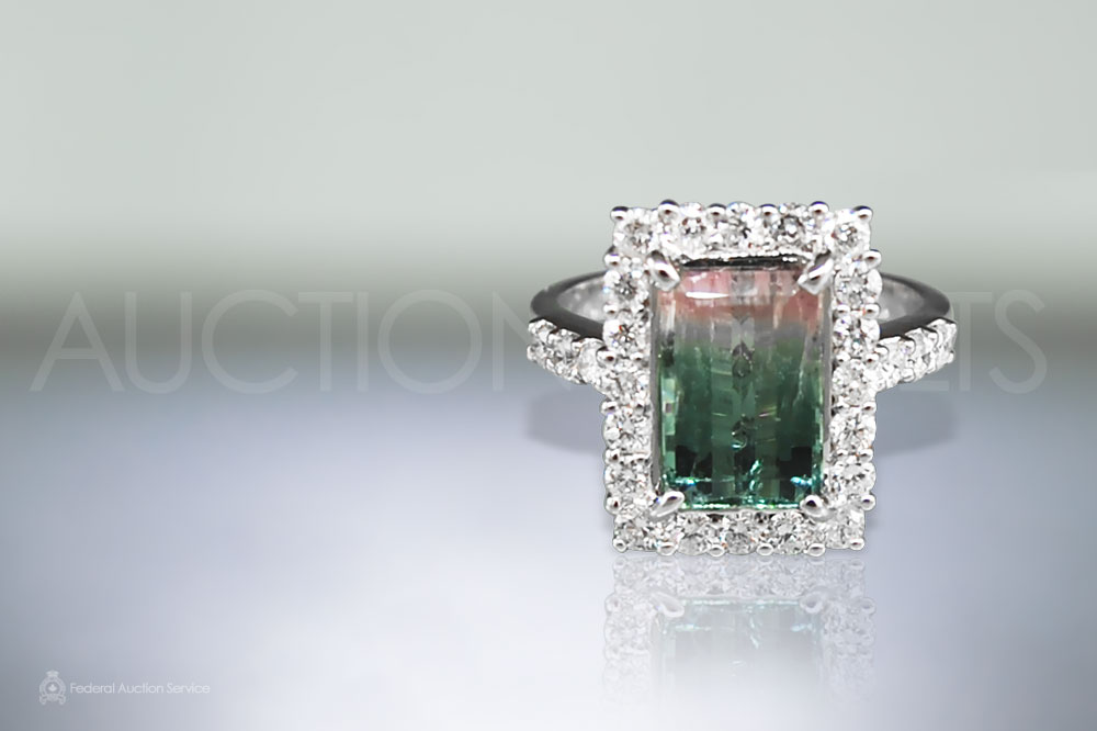 2.7ct Bi-color Tourmaline and Diamond Ring sold for $3,000