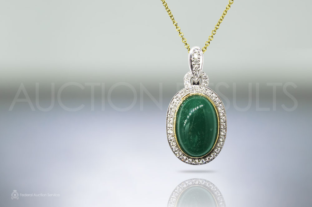 10ct Cabochon Emerald and Diamond Pendant sold for $12,000