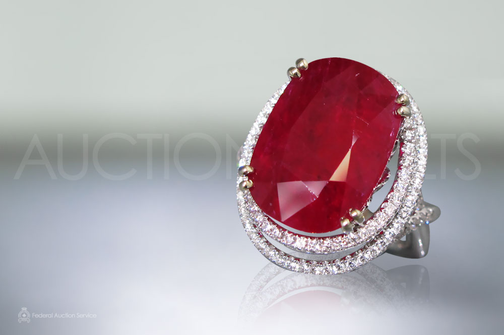 AIGS Certified 13.47ct Cushion Faceted Ruby and Diamond Ring sold for $30,000