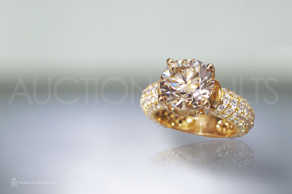 3.50ct Round Brilliant Cut Light Brown Diamond Ring sold for $26,000