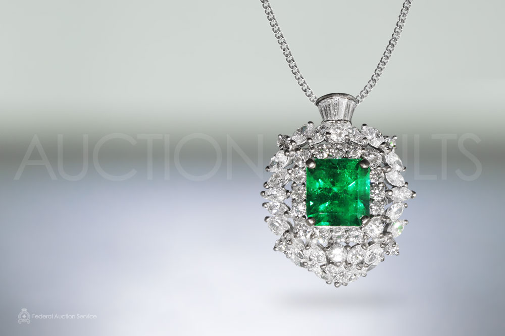 GIA Certified 5.46ct Colombian Emerald and Diamond Pendant Necklace sold for $45,000
