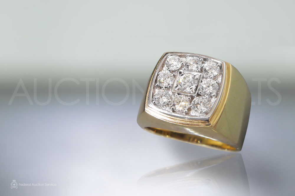 Men's 14k Yellow Gold 1.65ct (TDW) Diamond Ring sold for $4,550