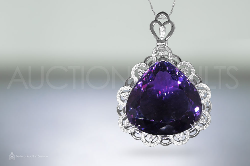50.26ct Amethyst and Diamond Pendant sold for $3,500