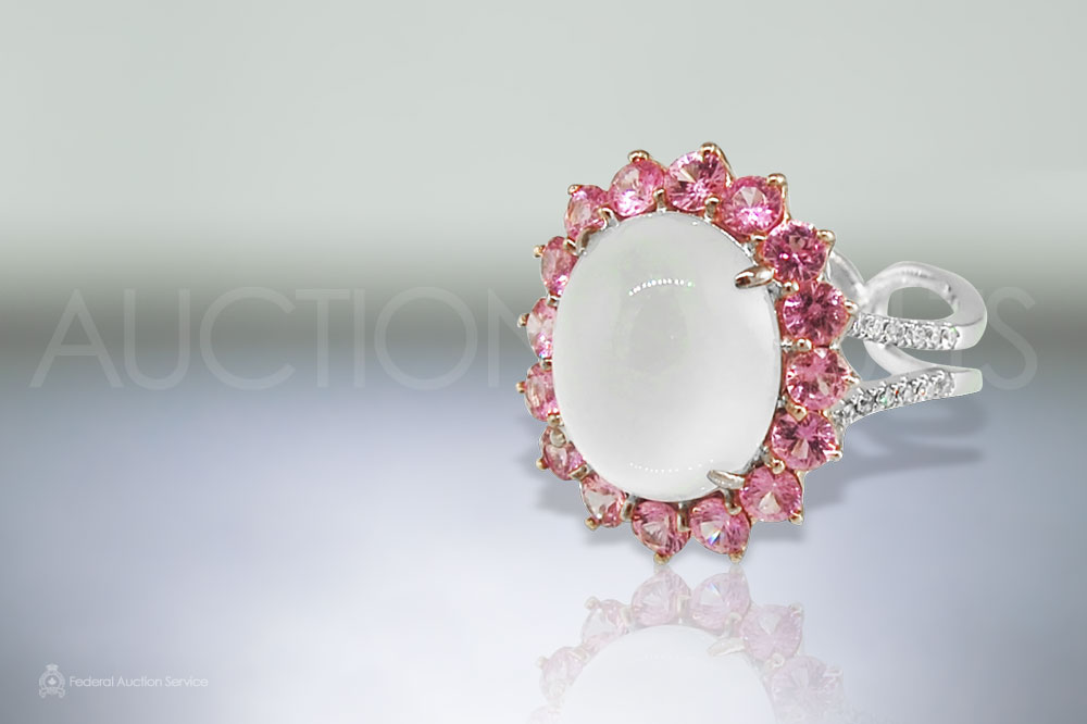 Burma Icy Jade and Pink Sapphire Ring sold for $14,000