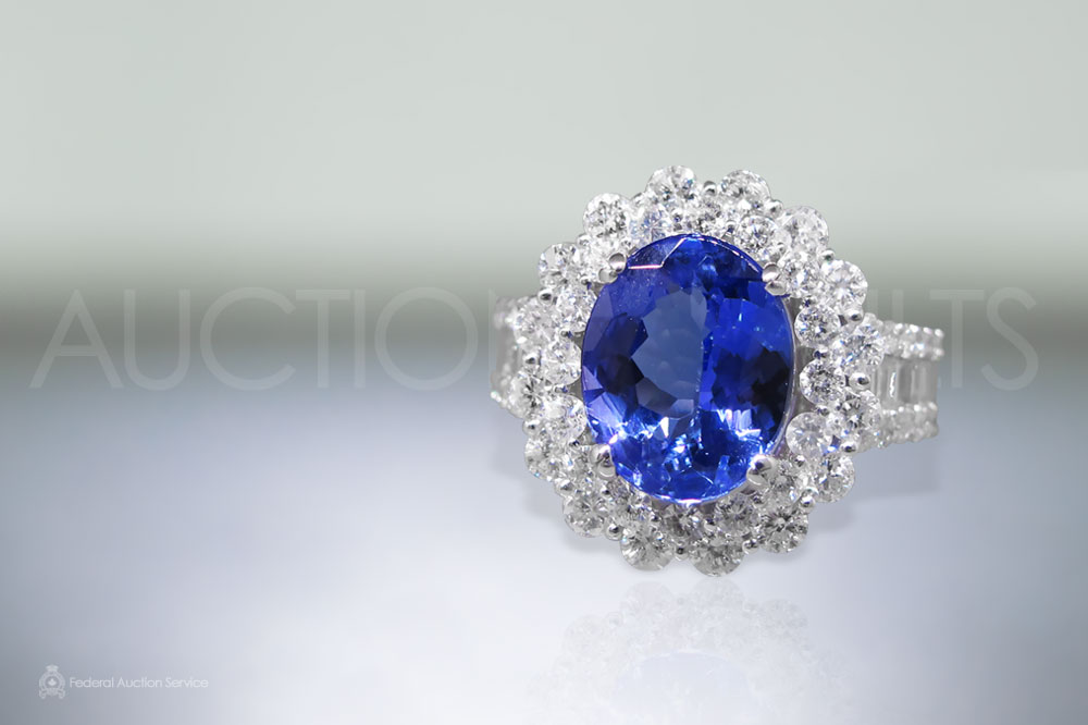 Lady's 14k White Gold Tanzanite and Diamond Ring sold for $5,100