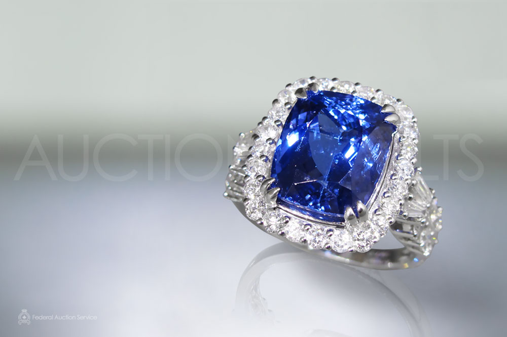 EGL Certified 7.85ct Cushion Cut Natural Tanzanite and Diamond Ring sold for $5,000