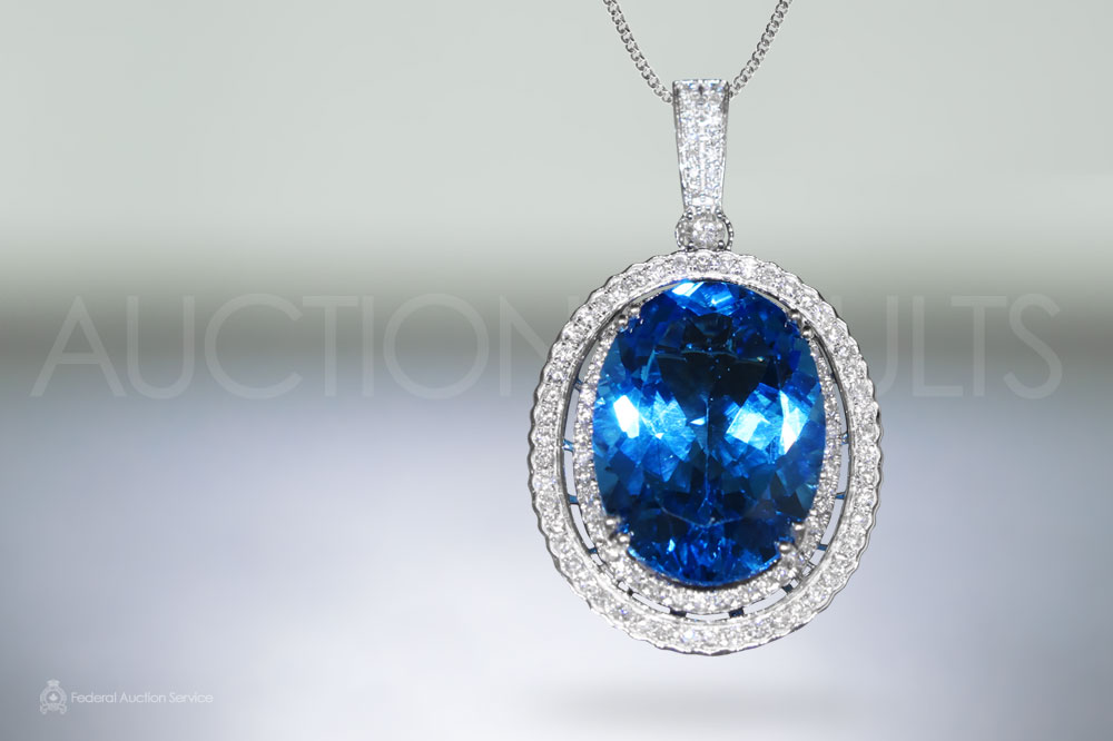 Lady's 14k White Gold 26.66ct Blue Topaz and Diamond Pendant sold for $3,500