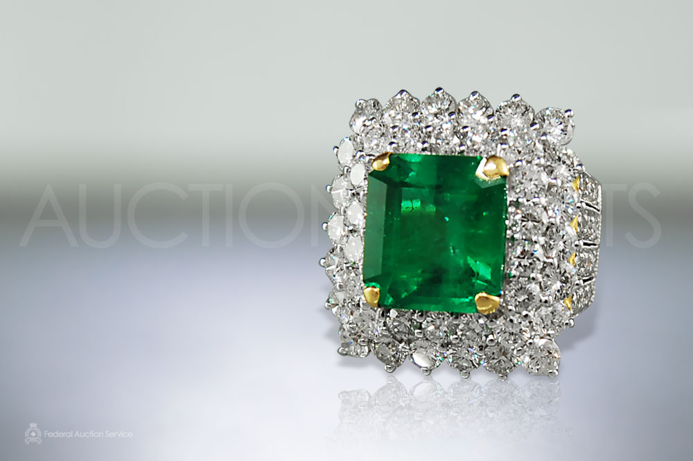 Fine 8.21ct Colombian Emerald and Diamond Ring sold for $45,000