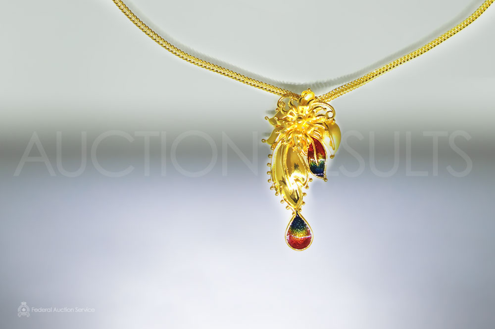 Fine Yellow Gold Necklace Stamped 22k with Floral Motif Pendant sold for $800