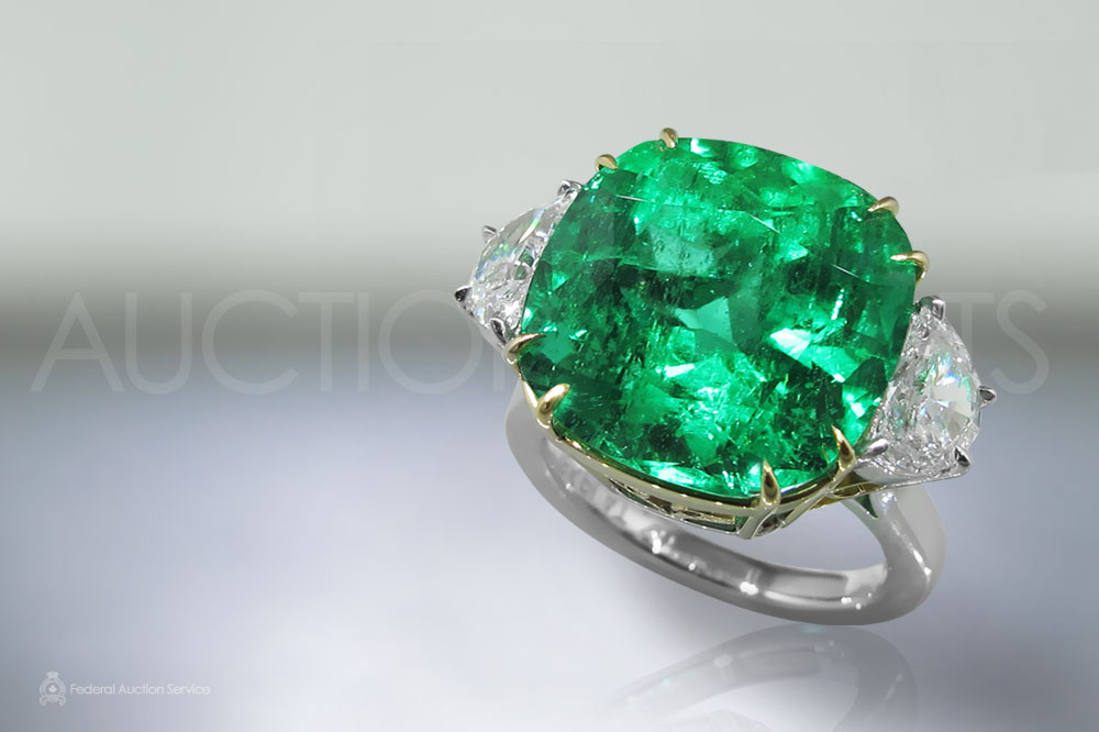 GRS and EGL double Certified 14.03ct Cushion Cut Natural Colombian Emerald and Diamond Ring sold for $40,500