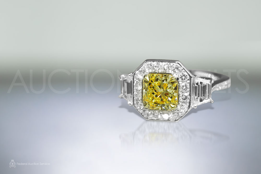 GIA Certified 1.80ct Cut-Cornered Square Cut 'Internally Flawless' Fancy Yellow Diamond Ring sold for $22,000
