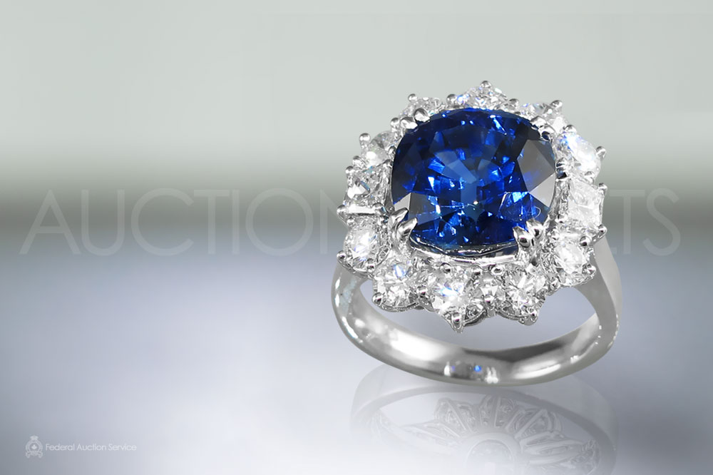 EGL Certified 9.02ct Cushion Cut Unheated Blue Sapphire and Diamond Ring sold for $45,000